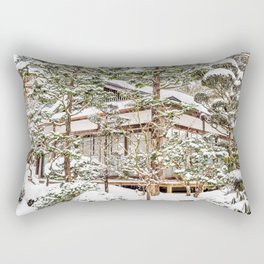Japanese Temple in Winter Rectangular Pillow