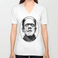 frankenstein V-neck T-shirts featuring Frankenstein by Zombie Rust