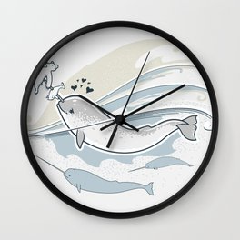 The Friendly Narwhal Wall Clock