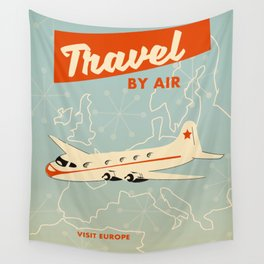 """1950s style """"by air"""" travel poster print. Wall Tapestry"""
