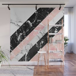 Modern black white pastel pink marble color block stripes Wall Mural