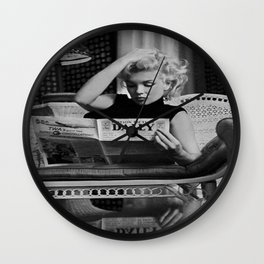 Mari-lyn Monroe, Motion Picture Daily, NYC, 1955, photography of Ed Feingersh Poster Litho Vintage American Icon Wall Clock