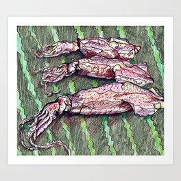 Squid  X three Art Print