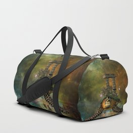 Fantasy turtles with flowers and ruin Duffle Bag