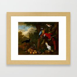 A Still Life With Fruit Parrots And A Cockatoo by Jakob Bogdani Framed Art Print