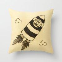 rocket Throw Pillows featuring rocket by Mariana Beldi