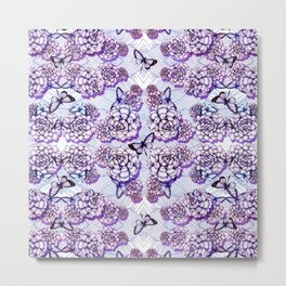 Succulent Motif and Butterfly # Purple Metal Print