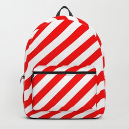 Australian Flag Red and White Candy Cane Diagonal Stripes Backpack