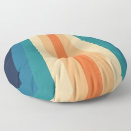 70's Retro Blue & Orange Palette Floor Pillow