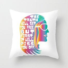 Gloria Steinem Feminist Icon Truth Quote Rainbow Colors Throw Pillow
