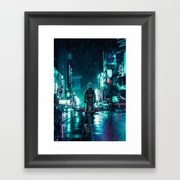 Another Rainy Night ( The Continuous Tale Of The Lost Astronauta) Framed Art Print