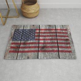 USA flag - on grainy wood Rug