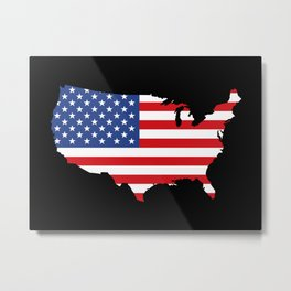 United States of America Black Metal Print