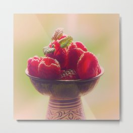 Raspberries fruit enjoyment Metal Print
