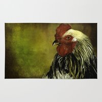 rooster Area & Throw Rugs featuring Rooster by LudaNayvelt