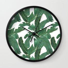banana leaves pattern Wall Clock