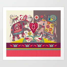 Raja's Garden 'Two Royal Elephants' with Indian Stripe Art Print