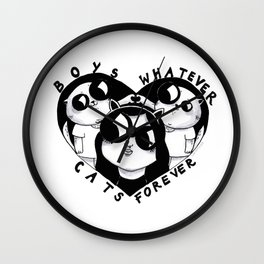Boys Whatever Cats Forever Wall Clock