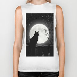 Silent Night Cat and full moon Biker Tank