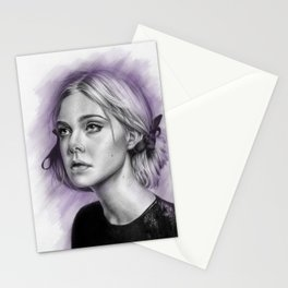 Elle Fanning Drawing - Spatter Series Stationery Cards