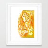 bad wolf Framed Art Prints featuring Bad Wolf by Erin Garey