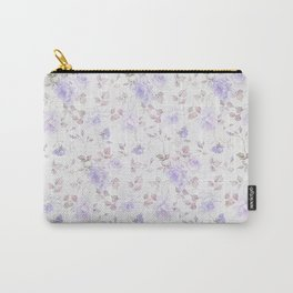 Lavender gray elegant vintage roses floral Carry-All Pouch