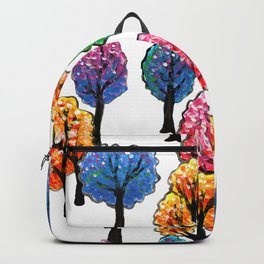 Forest - Tree Pattern Illustration - Acrylic Painting Backpack