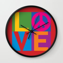 Love Peace Color Blocked Wall Clock