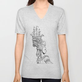 Girl With Ship Unisex V-Neck