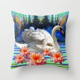 Swan Island &, Peach-Pink Water Lillies Throw Pillow
