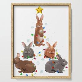 Rabbit Bunny Christmas Tree Ornament Decor Gift Serving Tray