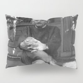 Albert Einstein in Fuzzy Slippers Classic Black and White Photography Pillow Sham