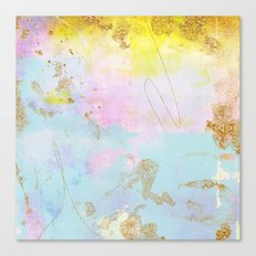 Light Blue, Pink,Yellow and Gold Brush Stroke Abstract Canvas Print