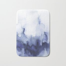Moody Indigo Abstract Watercolor Bath Mat