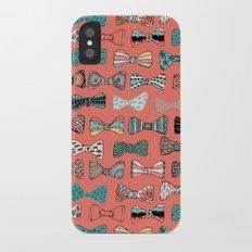 Bow tie geek in pink iPhone X Slim Case