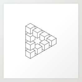 #01 Impossible geometry  - triangle made by cubes Art Print