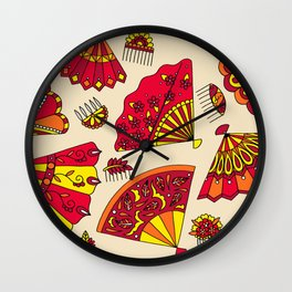 Colorful Fans Red Wall Clock