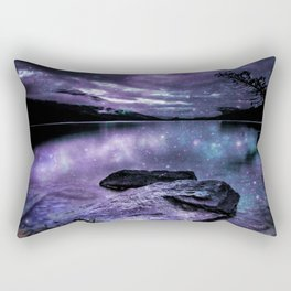Magical Mountain Lake Purple Teal Rectangular Pillow