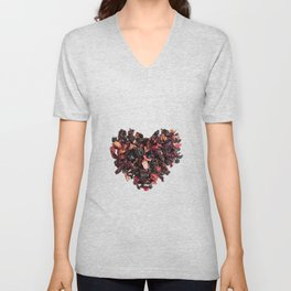 petals tea formed in heart shape Unisex V-Neck
