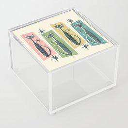 Retro Patchwork Tabbies ©studioxtine Acrylic Box
