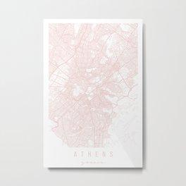Athens Greece Light Pink Minimal Street Map Metal Print