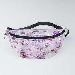 Shabby vintage lavender violet watercolor floral Fanny Pack