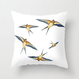 Andorinha Spring Bird - Barn Swallow illustration Throw Pillow