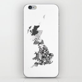 Great Britain Map Print Abstract in Camouflage Black and White - A great talking piece for the home! iPhone Skin