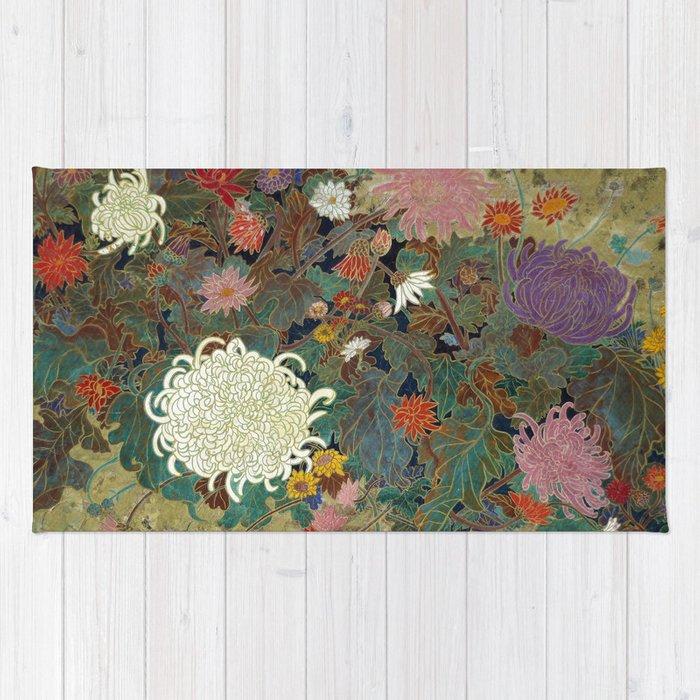 flower【Japanese painting】 Rug