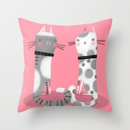 CATS ON PINK Throw Pillow