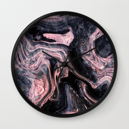 Stylish rose gold abstract marbleized design Wall Clock