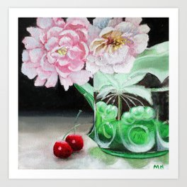 Cherry Blossoms in Green Glass Art Print