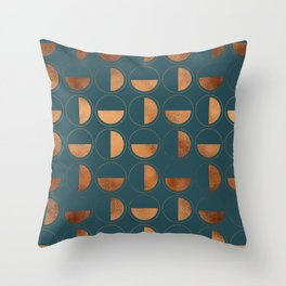 Copper Circles Art Deco on Emerald Throw Pillow