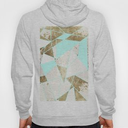 Modern Rustic Mint White and Faux Gold Geometric Hoody